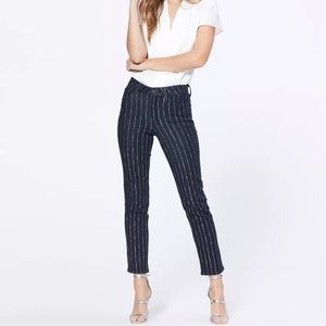 Paige Hoxton Straight ankle glitter stripes jeans